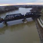 Aerial Photo of Train on Bridge
